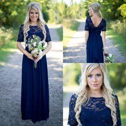 $enCountryForm.capitalKeyWord Australia - 2019 Country Bridesmaid Dresses Hot Long For Weddings Navy Blue Chiffon Short Sleeves Illusion Lace Beads Floor Length Maid Honor Gowns