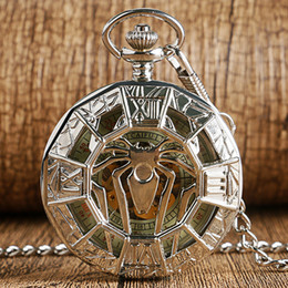 timepiece clocks Australia - Retro Silver Pocket Watch Hollow Out Case Spider Design Handwind Mechanical Clock Skeleton Roman Number Dial Timepiece Pendant FOB Chain rel