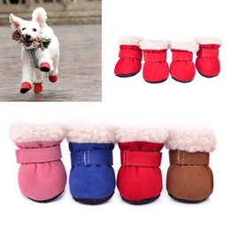 dog snow shoes UK - 4Pcs Set Winter Warm Shoes for Dogs Cute Dog Boots Snow Walking Cotton Blend Puppy Sneakers Pet Supplies Wholesale S-XL