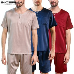 silk pyjamas men Australia - INCERUN 2019 Men Pajamas Set Silk Satin Soft Sleepwear Suit Solid Short Sleeve Top Elastic Waist Shorts Men Pyjamas Set Homewear