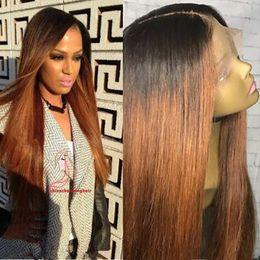 Two Tone Black Women Human Hair Australia - Virgin brazilian straight ombre full lace wigs human hair two tone color lace front wig #1b #30 color for black women