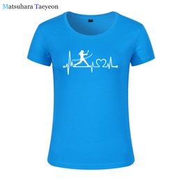 $enCountryForm.capitalKeyWord Australia - Fashion Women clothing Print Softball Girl Batting Heartbeat Tee T-shirt Women Top Short Sleeve Female tops clothing t shirt