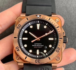 real rubber Australia - extra strap 42MM real bronze Square Automatic Watch AVIATION TYPE MILITARY BR03-92 BR03 03-92 men's watches INSTRUMENTS wristwatch rubber