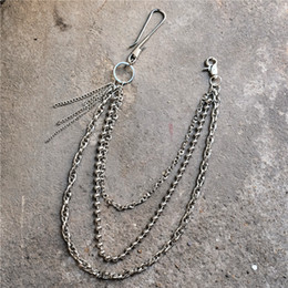 Spike Crystal Rings Australia - 3 Layers Ring Rock Punk Key Chains Clip Hip Hop Jewelry Pants KeyChain Wallet Chain Waist Chains
