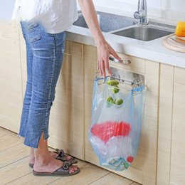 Wholesale 2018 Stainless Steel Kitchen Hanger Storage Rack Trash Organizer Rack Closet Storage Hook Holders Garbage Bag Holder Dropshipp