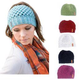 $enCountryForm.capitalKeyWord Canada - Winter Knits Cap Baggy Warm Crochet Girl Pony Tail Hat Autumn Winter Ear Protection Wool Caps Knit Beanie Skull Slouchy Caps Empty Top Hats
