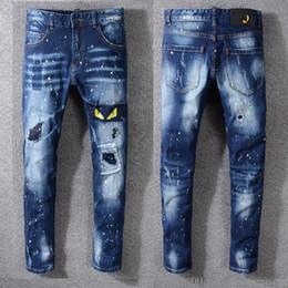 Jean patches online shopping - 2019 New Jeans High Quality Luxury Men Designer Jeans Patch Slim Paint Little Feet Locomotive Mens Jeans Size