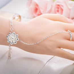 Ring Flowers Australia - Luxury Pearl Flower Bangle Bracelets with Ring Jewelry Silver Plated Flower Charm Chain Ring Bracelets Cuff Wristband Finger Ring for Women