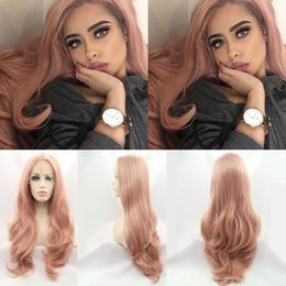 Hand Tied Lace Front Wigs Australia - Fashion Orange Pink Lace Wig Mixed Color Glueless Long Natural Wavy Middle Part Synthetic Lace Front Wigs Half Hand Tied Heat Resistant