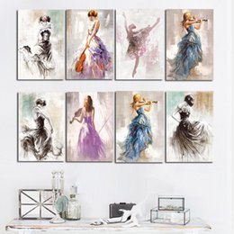 Oil paintings girls online shopping - Ballet Dance Girl Portrait Oil Painting on Canvas Posters and Prints Modern Scandinavian Nordic Wall Art Picture for Girl Room
