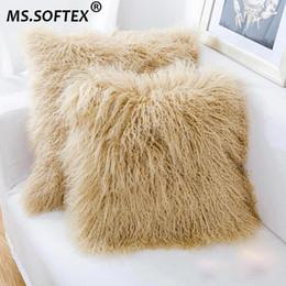 eaa485650b Softex Mongolian lamb Pillow Case Real Fur Cushion Cover High Quality  Natural Lamb Fur Pillow Cover Fluffy Fur