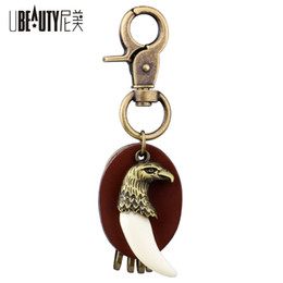 Tooth Crystal Australia - UBEAUTY Retro Key Chain Alloy Eagle Head Resin Wolf Tooth Pendant Fashion Leather Keychain Car Key rings Jewelry Accessories