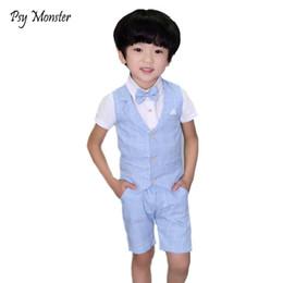 $enCountryForm.capitalKeyWord Australia - Brand 2PCS Vest+Shorts Kids Boys Summer Clothing Sets Gentleman Children Wedding formal toddler dresses Party Wear Formal