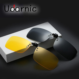 China High Quality Polarized Sunglasses Clip on Dark Vision Lens Glasses Flip Night Driving Glass Black Easy Anti-UVA Lens 030-001 supplier polarized night driving clip glasses suppliers