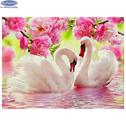 animal swan paintings NZ - wholesale diamond embroidery swan couple animal 5d diamond painting rhinestone pictures pasted cross stitch Full Square Drill Crystal