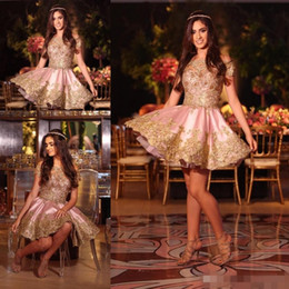 $enCountryForm.capitalKeyWord Australia - 2019 Pink Homecoming Dresses with Gold Lace Applique Satin Short Sleeves Off the Shoulder Mini Cocktail Party Gown Formal Occasion Wear