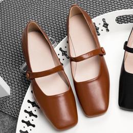 $enCountryForm.capitalKeyWord NZ - 3 Color plus size 41 women's genuine leather mary jane flats sqaure toe soft comfortable ballerinas leisure espadrilles shoes