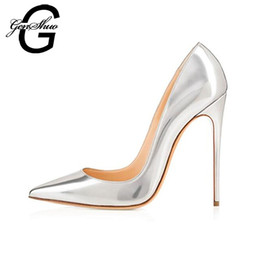 8e2d9a99a0ab GENSHUO Hot Fashion Women Silver Patent Leather Pointy Evening Dress Pumps  High Heels Ladies Party Shoes Plus Size 6-12
