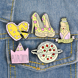 $enCountryForm.capitalKeyWord Australia - Princess High Heels Crown Pizza Brooch Cartoon Badge Men Hard Enamel Pin Collection Button Collar Decor Handbag Jacket Denim Hat Accessories