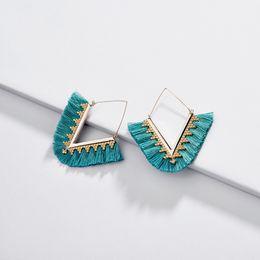$enCountryForm.capitalKeyWord Australia - Kendra Luxury Designer V Shape Cotton Thread Tassel Charms Earrings Gold Hook Fashion Women Jewelry Dangle Earrings