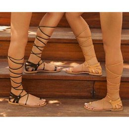Discount leather sandals for ladies - Women Designer Sandals Black Brown 2Color Avaliable Summer Shoes for Girls Lady Shoes with Bandage Style Hot Sale Free S