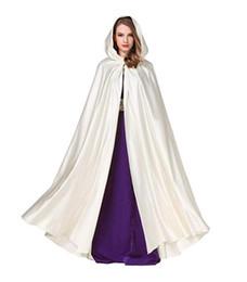 $enCountryForm.capitalKeyWord Australia - Wedding Hooded Cape Bridal Cloak Poncho Full Length Cloak with Hood Costume Satin Fabric Party Prom Coat