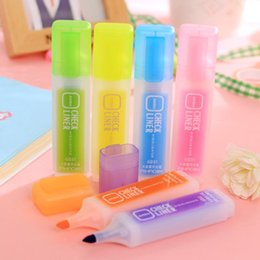Discount fashion office supplies - Kawaii Marker Pen Colorful Fluorescent Pen Oblique Highlighters Fashion Watercolor Pens Painting Pens Stationery Writing