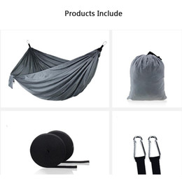 Wholesale Outdoor Parachute Cloth Hammock Foldable Field Camping Swing Hanging Bed Nylon Hammocks With Ropes Carabiners Color DH1338
