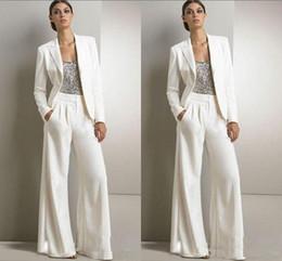 Wholesale pant suit woman for sale – designer 2019 Bling Sequins White Pants Suits Mother Of The Bride Dresses Formal Chiffon Tuxedos Women Party Wear