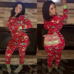 Wholesale jumpsuit animal women for sale – halloween 2019 Autumn Women Sexy Long Sleeve Jumpsuits Fashion Ladies Christmas Red Print Romper Long Pants Bodycon Christmas Clotheses