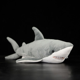 "Great Christmas Gifts Kids Australia - 16"" Lifelike Great White Shark Stuffed Toy Soft Shark Plush Toys Simulation Ocean Animal Toy Christmas Gifts For Kids"