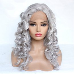$enCountryForm.capitalKeyWord Australia - Medium curly Hair lace front wigs Hot sale Half hand made Light Grey synthetic Lace Front Wigs Adjustable