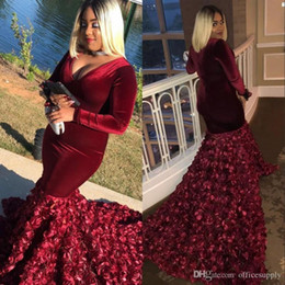 red fitted dress long sleeve prom UK - Burgundy African Mermaid Prom Dresses Plus Size Long Sleeves Rose Flowers Velvet Fitted Women Sexy Evening Party Gowns Robe De Mariee