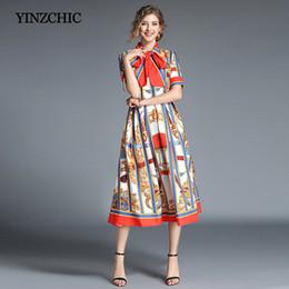 Summer Street Fashion Vintage Dresses Australia - Fashion Woman Summer Dress Royal Printing Female Midi Dresses Striped A-Line Dress For Female Party Vintage Dresses Cheap Price T5190615