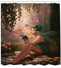 Fairy Bathroom Decor Australia - Fairy Shower Curtain Girl with Wings and Butterflies Digital Composition Computer Graphics Elven Creature Fabric Bathroom Decor Set