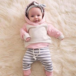 $enCountryForm.capitalKeyWord Australia - baby tracksuit Cotton long sleeve girls tracksuits kids designer clothes Sweater+casual trousers+bows Headbands Infant Outfits A2400