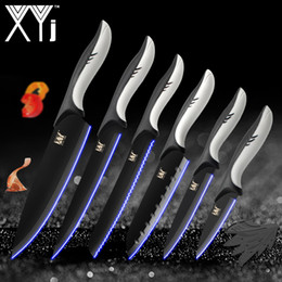 Wholesale 6pcs set Kitchen Cooking Stainless Steel Knives Tools Black Blade Paring Utility Santoku Chef Slicing Bread Kitchen Accessories Tools