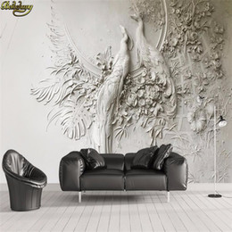 Peacock 3d Painting Australia - Custom wallpaper 3D stereo embossed peacock TV sofa background wall painting wall papers home decor papel de parede