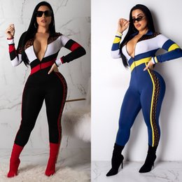 Stitch Jumpsuits NZ - L5309 2019 spring and summer new hot sale fashion casual color block printing stitching jumpsuit women's clothing