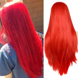 $enCountryForm.capitalKeyWord Australia - Sexy Red Color Natural Looking Lace Front Wigs Long Straight Heat Resistant Synthetic Hair Half Hand Tied Wigs Free Part for Fashion Women