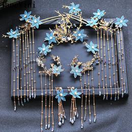 blue rhinestone headdress 2019 - JaneVini Luxury Chinese Style Bridal Headdress Blue Flower Long Tassels Ancient Hairpin with Earrings Women Wedding Jewe