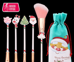 christmas makeup brush gift set UK - Christmas gift elk makeup brush beginner eyeshaow eyebrow lip brush blush brushes 5 pcs set with bag beauty tools gift
