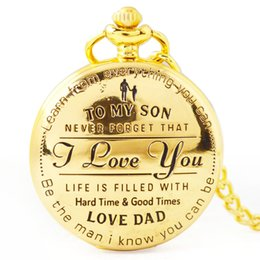 Discount pendent chains - To My Son I Love You Retro Series Pocket Watch Quartz Watches Pendent Necklace Watch Chain Best Christmas Gift for Child