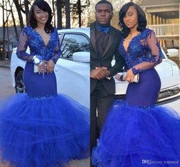 $enCountryForm.capitalKeyWord Australia - Elegant Sexy Black Girls Royal Blue Prom Dresses Sheer Long Sleeve Lace Appliques Beads Mermaid V Neck Ruched Tulle Skirt Long Evening Gowns