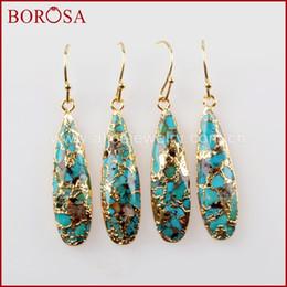 $enCountryForm.capitalKeyWord Australia - BOROSA 5Pairs Fashion Teardrop Gold Color Natural Copper Tur-quoise Earrings Natural Blue Stone Jewelry for Women G1547-E C18122801