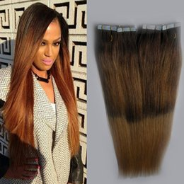 $enCountryForm.capitalKeyWord Australia - Ombre virgin brazilian hair Brown And Blonde T6 27 Two tone ombre tape hair extensions 40 pcs PU Skin weft tape in human hair extensions