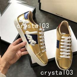 $enCountryForm.capitalKeyWord Australia - Ace Leather Low Top Lovers Sneakers Web Embellished Blind for Love Gold 2018 Snakeskin-trimmed Sneaker Designer Embroid Shoes Model 019