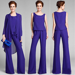 $enCountryForm.capitalKeyWord Australia - Three Pieces Mother of the Bride Pant Suits Long Chiffon Formal Mother of the Bridal Dresses Long Sleeve Mothers Groom Dresses