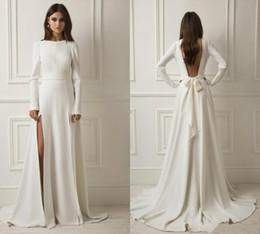 $enCountryForm.capitalKeyWord Australia - Simple A Line Side Split Wedding Dresses with Ribbon Buttons Long Sleeves Bridal Wedding Gowns Cheap Formal Dress