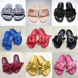 SandalS lighting online shopping - 2019 best Designer fashion Beach Slide Sandals Rihanna fur Slippers Mens women flip flops fluffy luxury pool chaussures casual shoes